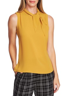 Vince Camuto Button Detail Tie Neck Sleeveless Blouse