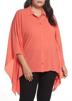 Vince Camuto Button Down Collared Poncho Top (Plus Size)