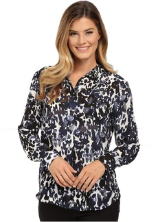 Vince Camuto Button Front Animal Spring Blouse