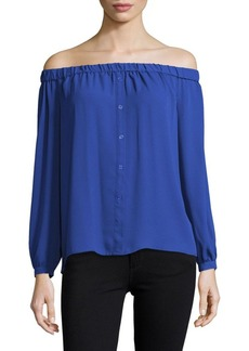 Vince Camuto Button-Front Off-The-Shoulder Pullover