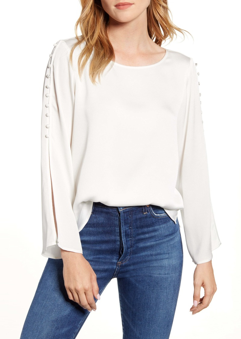 Vince Camuto Button Split Sleeve Hammered Satin Top