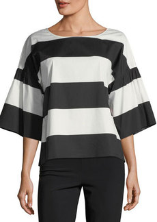 Vince Camuto Camden Wide-Stripe Ruffle-Sleeve Blouse