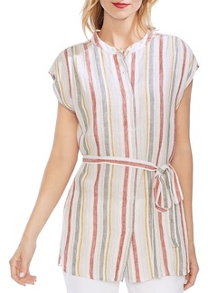 VINCE CAMUTO Canyon Stripe Linen Tunic Shirt