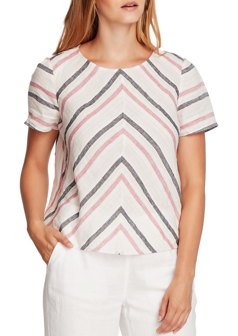 Vince Camuto Canyon Stripe Short Sleeve Linen Top