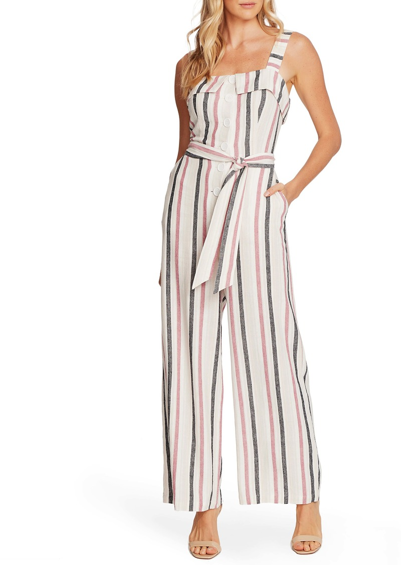 Vince Camuto Canyon Stripe Sleeveless Linen Blend Jumpsuit