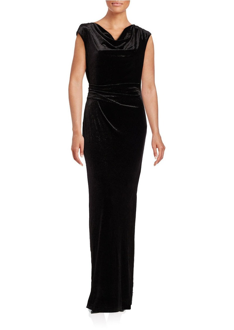 VINCE CAMUTO Cap-Sleeve Cowl-Neck Sheath Gown