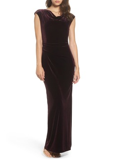 Vince Camuto Cap Sleeve Draped Velvet Gown