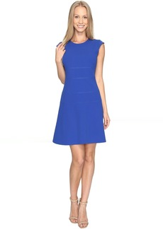 Vince Camuto Cap Sleeve Fit and Flare Seamed Dress