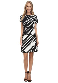 Vince Camuto Cap Sleeve Graphic Wave Flare Dress