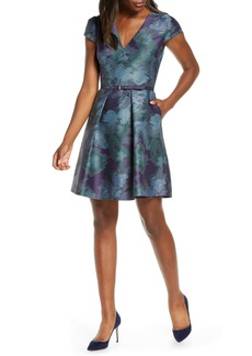Vince Camuto Cap Sleeve Jacquard Fit & Flare Dress