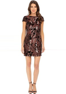 Vince Camuto Cap Sleeve Velvet Sheath Dress with Flexible Copper Sequins