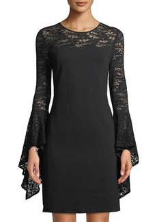 Vince Camuto Cascading Lace Bell-Sleeve Dress