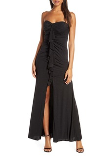 Vince Camuto Cascading Ruffle Strapless Gown