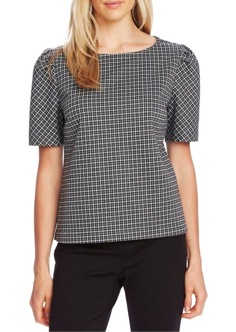 Vince Camuto Checkered Puff-Sleeve Blouse