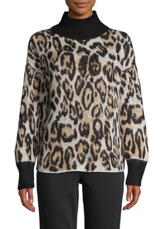 Vince Camuto Cheetah-Print Turtleneck Sweater