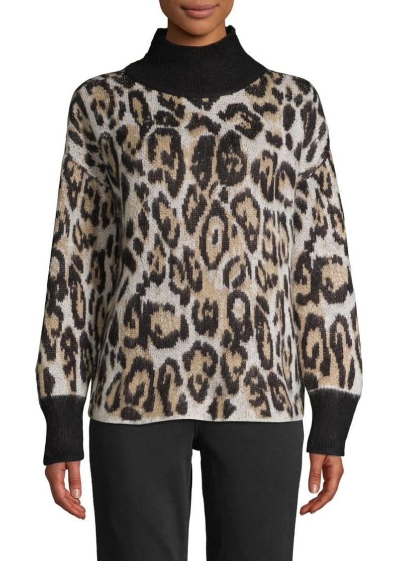 Vince Camuto Cheetah-Print Turtleneck Sweater