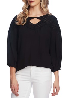 Vince Camuto Chevron Lace Inset Top