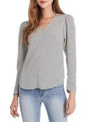 Vince Camuto Chevron Stripe Long Sleeve Crêpe de Chine Blouse