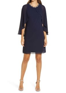 Vince Camuto Chiffon Cape Back Shift Dress