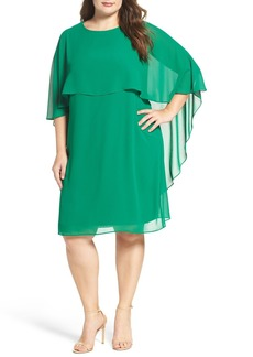 Vince Camuto Chiffon Cape Sheath Dress (Plus Size)