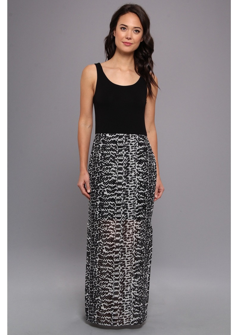 Vince Camuto Chiffon Overlay Maxi Animal Tracks Dress