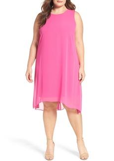 Vince Camuto Chiffon Overlay Shift Dress (Plus Size)