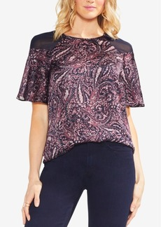 Vince Camuto Chiffon-Shoulder Printed Top