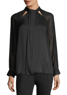 Vince Camuto Chiffon-Sleeve High-Neck Blouse