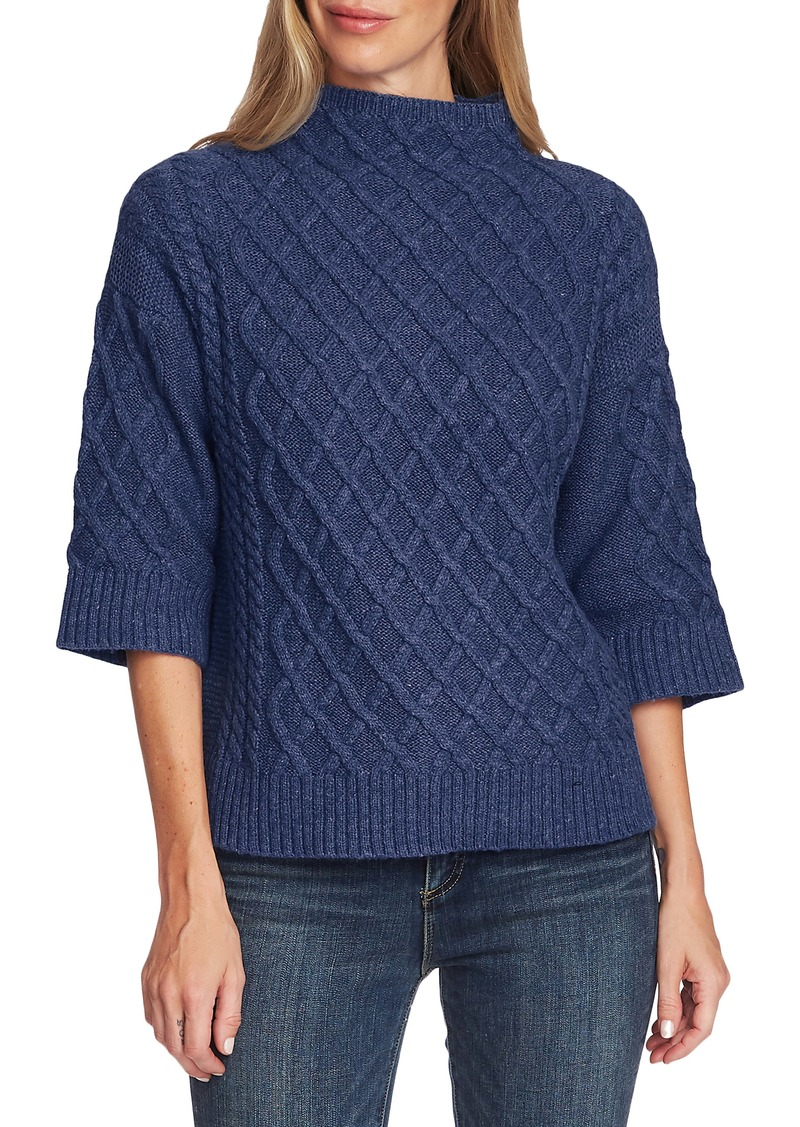 Vince Camuto Chunky Cable Knit Funnel Neck Sweater (Regular & Petite)
