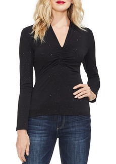 Vince Camuto Cinched V-Neck Sparkle Top