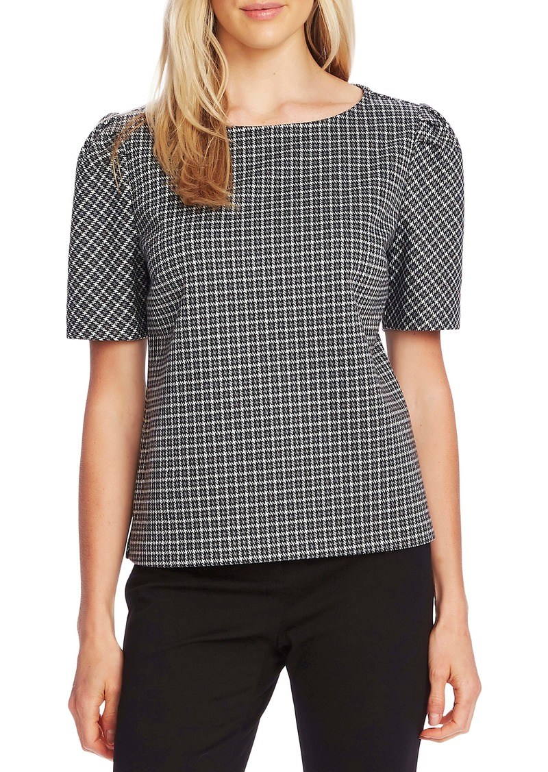 Vince Camuto Classic Check Puff Shoulder Blouse