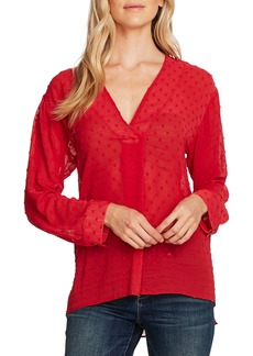 Vince Camuto Clip Dot Long Sleeve Blouse