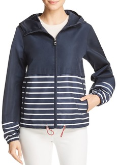 VINCE CAMUTO Coated Striped Rain Jacket