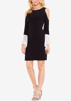 Vince Camuto Cold-Shoulder Contrast-Sleeve Sheath Dress