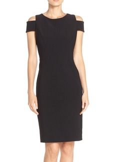 Vince Camuto Cold Shoulder Crepe Sheath Dress