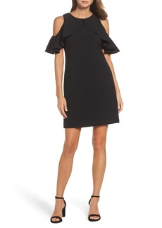 Vince Camuto Cold Shoulder Crepe Shift Dress