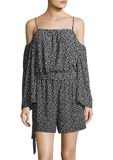 Vince Camuto Cold-Shoulder Dot-Print Romper
