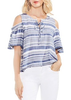 VINCE CAMUTO Cold Shoulder Lace-Up Stripe Top
