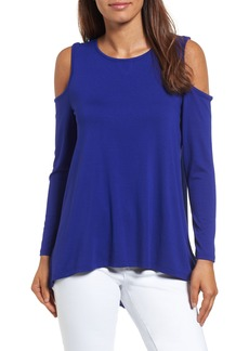 Vince Camuto Cold Shoulder Mixed Media Top (Regular & Petite)