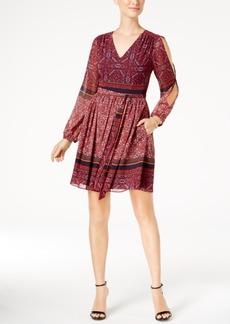 Vince Camuto Cold-Shoulder Printed Fit & Flare Dress