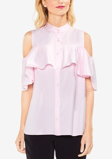 Vince Camuto Cold-Shoulder Ruffled Blouse