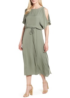 Vince Camuto Cold Shoulder Rumpled Satin Dress