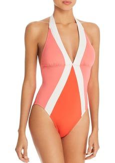 VINCE CAMUTO Color-Block Halter One Piece Swimsuit