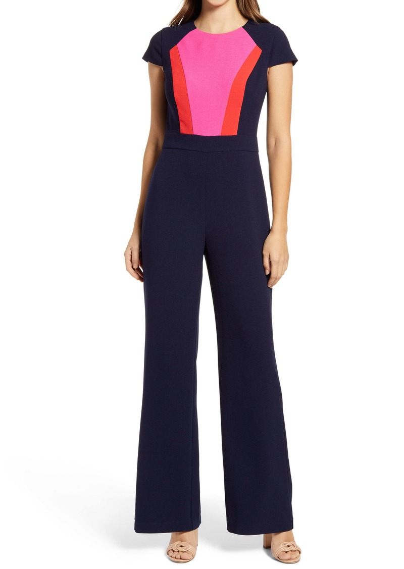 Vince Camuto Color Block Short Sleeve Stretch Crepe Jumpsuit