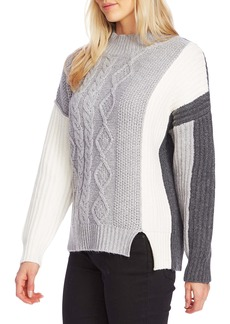 Vince Camuto Colorblock Cable Knit Sweater