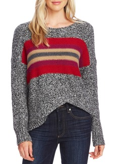 Vince Camuto Colorblock Crewneck Cotton Blend Sweater