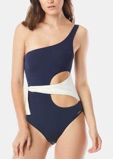 Vince Camuto Colorblocked One-Shoulder One-Piece Swimsuit Women's Swimsuit