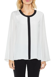 Vince Camuto Contrast Trim Bell Sleeve Blouse