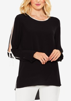 Vince Camuto Contrast-Trim Cold-Shoulder Blouse