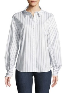 Vince Camuto Corset-Back Button-Front Striped Blouse